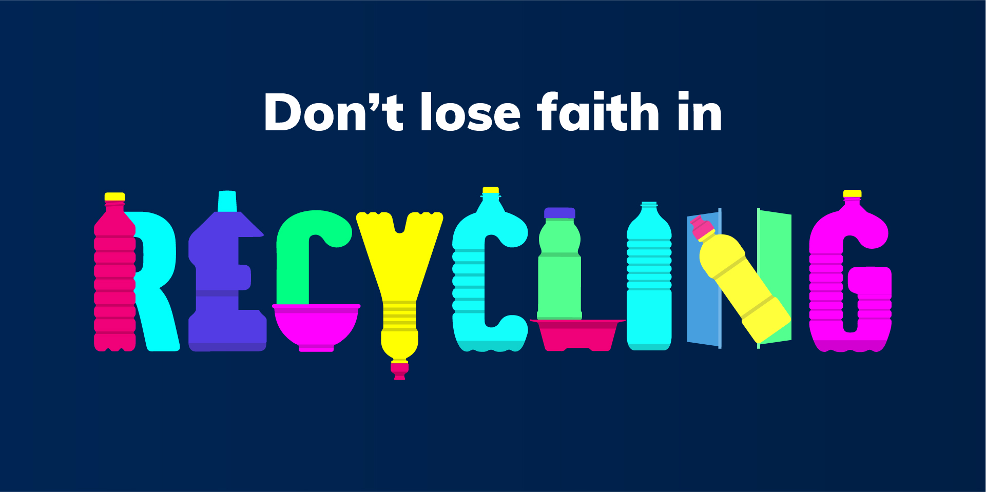 recycled plastic bottles forming the word 'recycling'